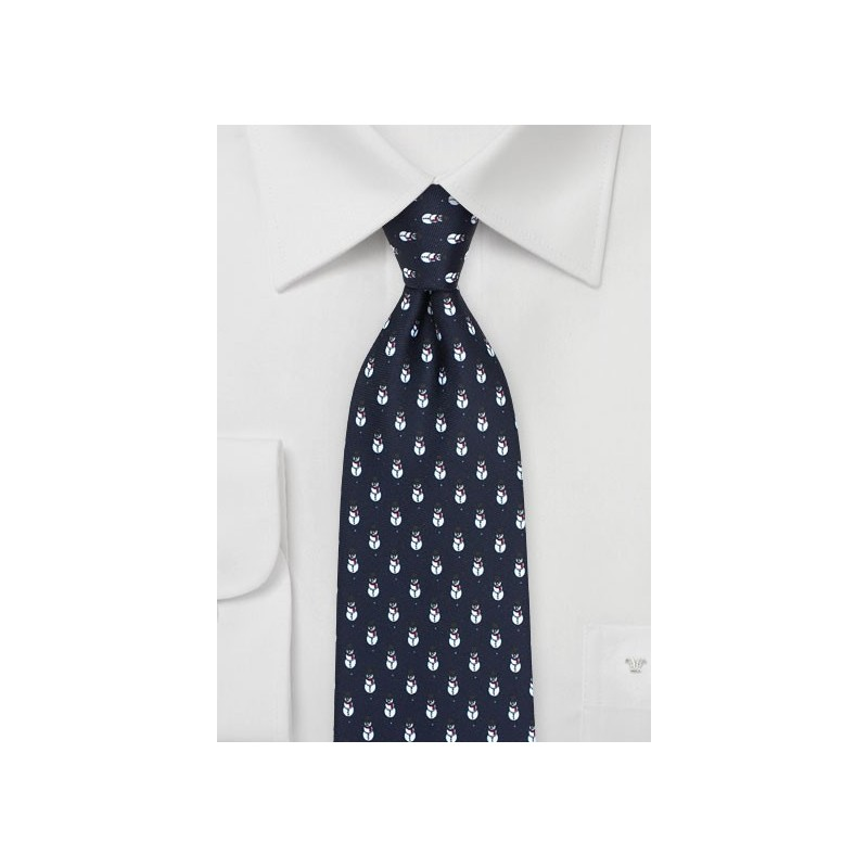 Snowman Christmas Tie in Dark Navy