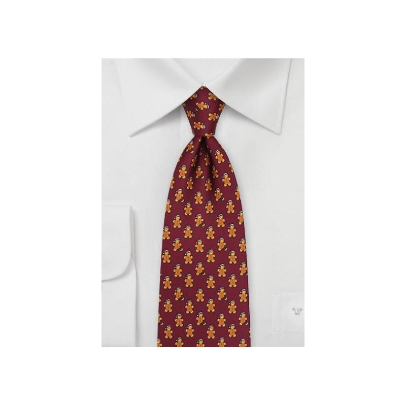 Gingerbread Men Necktie in Port Red