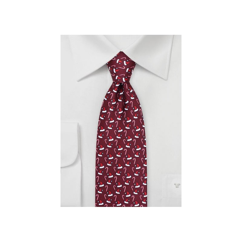 Christmas Theme Print Tie in Wine Red