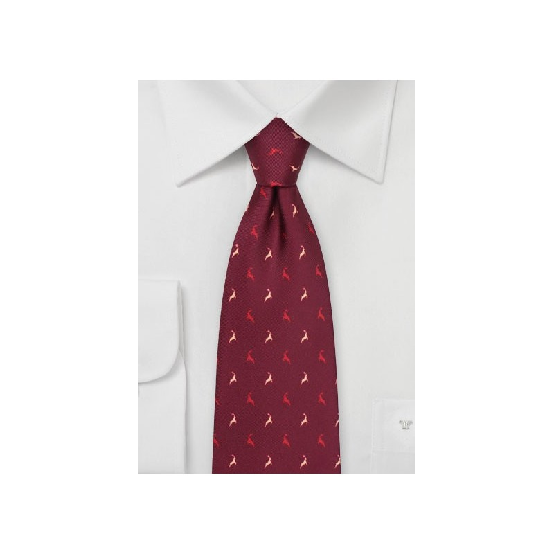 Jumping Reindeer Tie in Wine Red