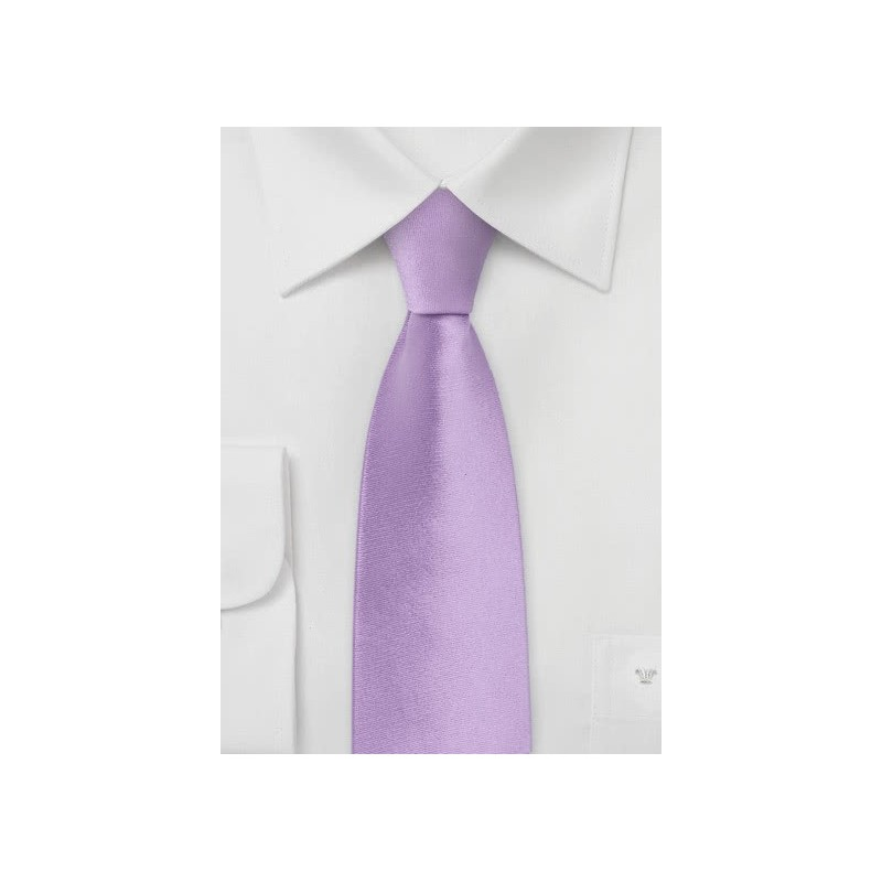 Skinny Silk Tie in Light Lavender