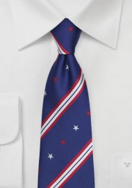 Repp Striped Necktie with Stars and Stripes