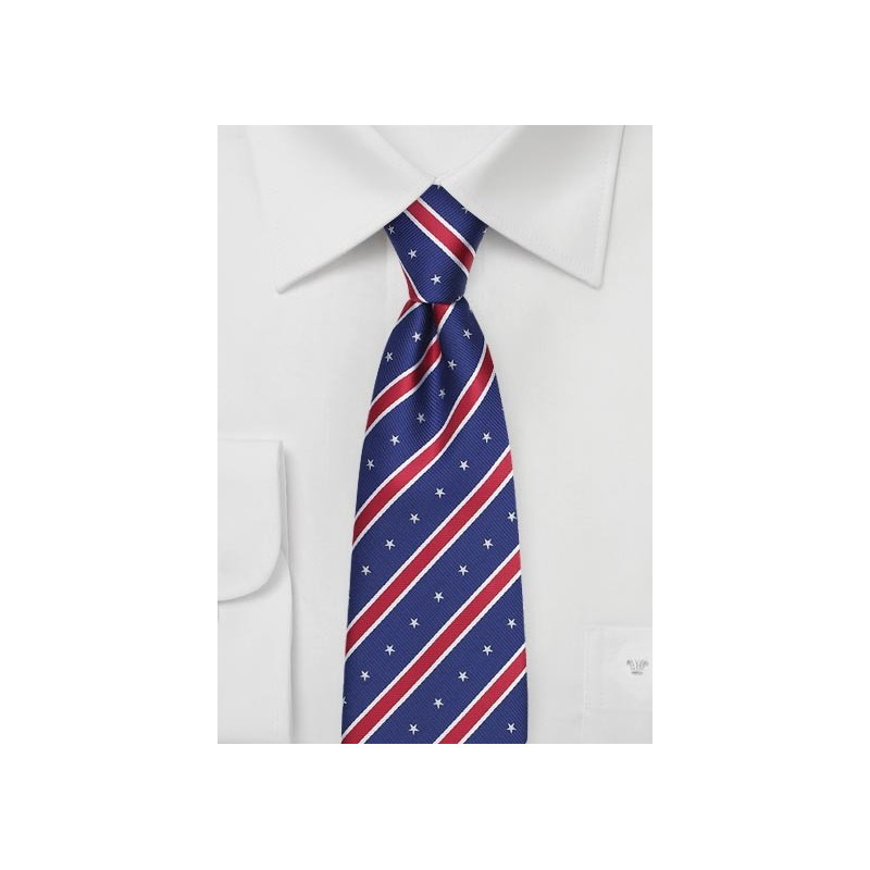 Red, White, and Blue Striped Tie with Embroidered Stars