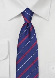 Elegant Repp Stripe Tie in Patriots Blue