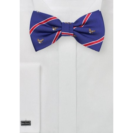Bow Tie with Embroidered Bald Eagles