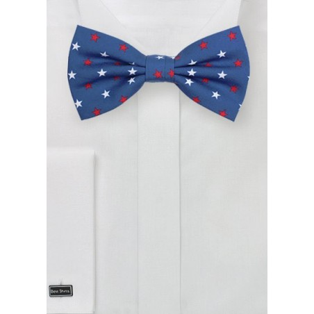 Blue Bow Tie with Stars in Red and White