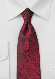 Chili Red Kids Tie with Paisley Design