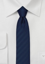 Monochromatic Striped Skinny Tie in Navy