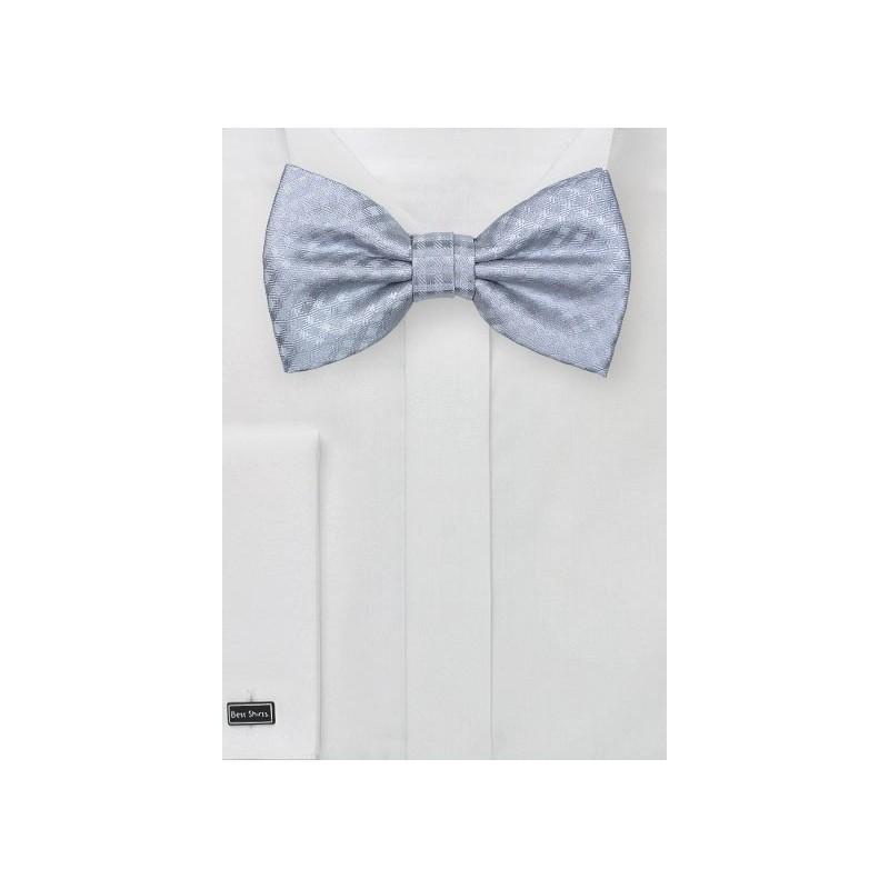 Elegant Silver Micro Check Bow Tie