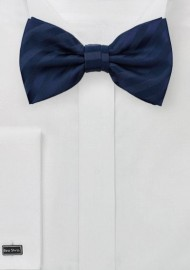 Solid Navy Striped Bowtie