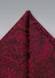 Burgundy Red Paisley Pocket Square