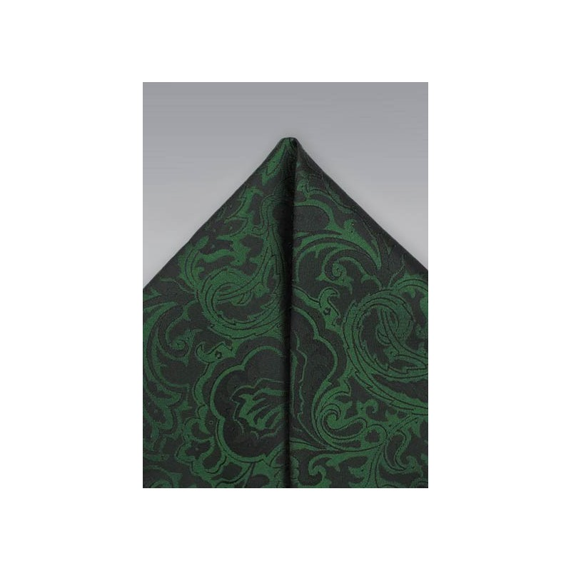 Forest Green Paisley Pocket Square