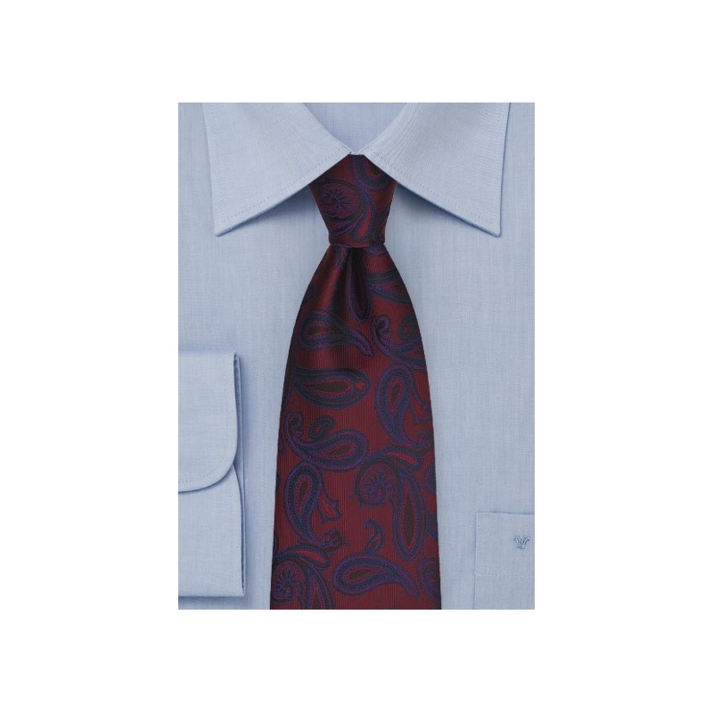 Maroon and Navy Paisley Tie