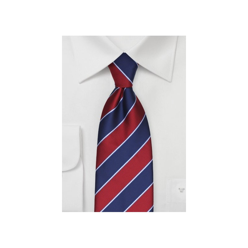 Classy Striped Tie in Navy and Cherry Red