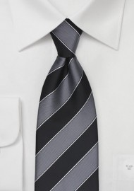 Classic Striped Tie in Gray and Black