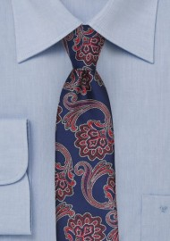 Royal, Red, White Paisley Skinny Tie