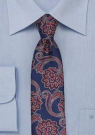 Royal, Red, White Paisley Skinny Tie
