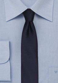 Dark Navy and Brown Micro Check Skinny Tie