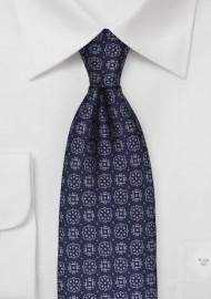 Steel Blue Medallion Pattern Tie