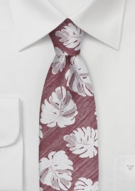 Monstera Leaf Pattern Tie in Red