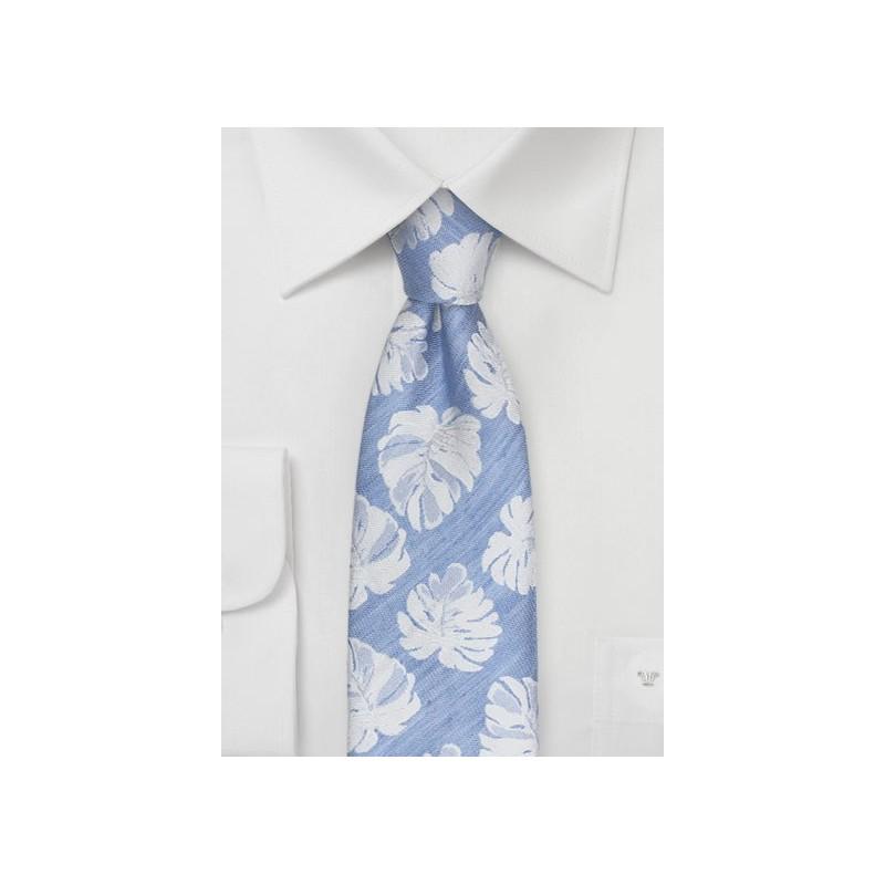 Linen Summer Tie in Ice Blue