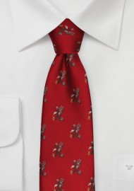 Red Silk Tie with Flying Bald Eagles