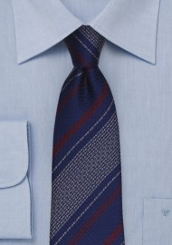 Retro Textured Striped Tie in Navy