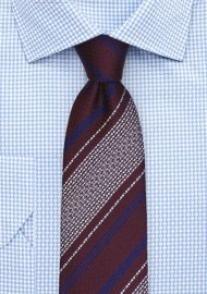 Burgundy Tie with Retro Stripes in Navy and Silver