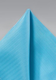 Cyan Blue Herringbone Pocket Square