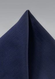 Dark Navy Herringbone Pocket Square