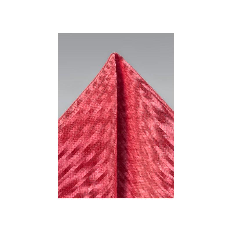 Herringbone Pocket Square in Valentine Red