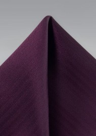 Herringbone Pocket Square in Grape Purple