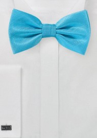Cyan Blue Textured Bow Tie