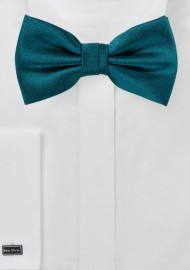 Teal Blue Herringbone Bow Tie