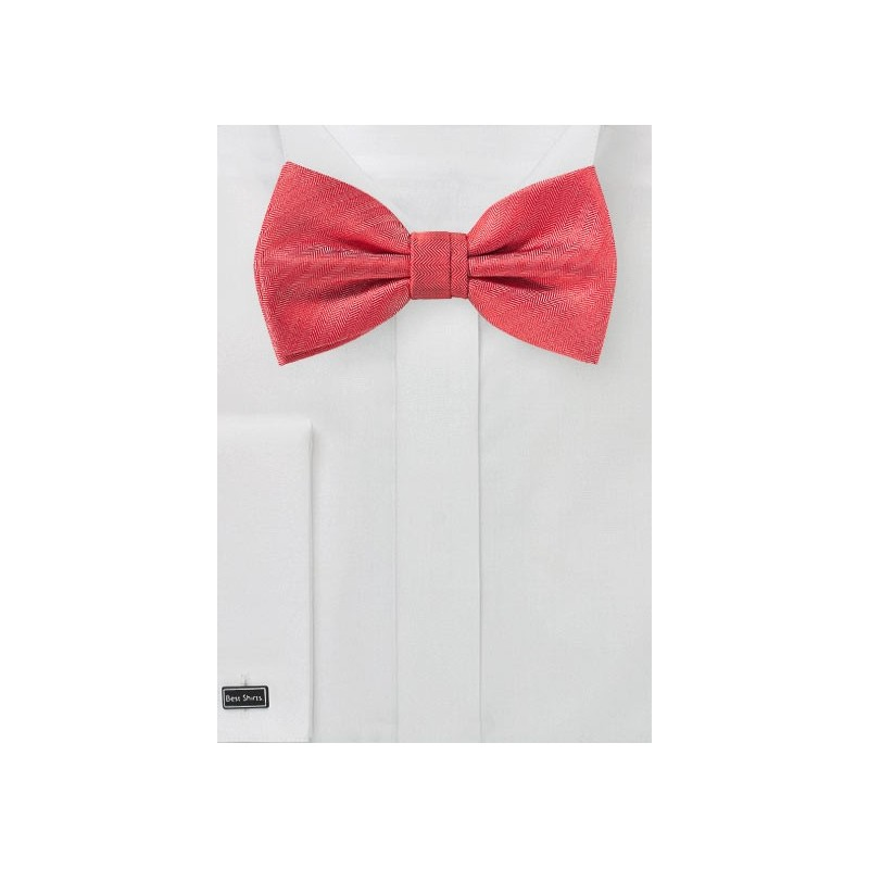 Bright Red Textured Bow Tie