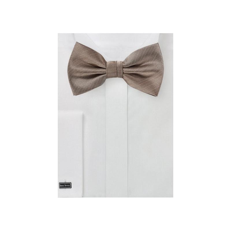 Textured Weave Bow Tie in Bronze Gold
