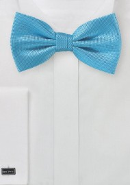 Textured Turquoise Blue Bow Tie