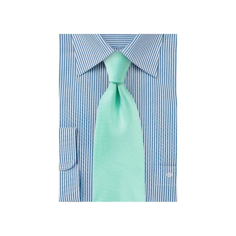 Textured Tie in Beach Glass