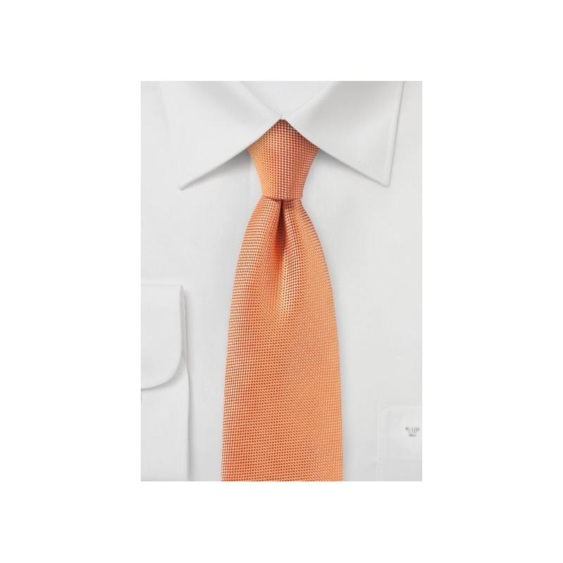 Solid Matte Fabric Finish Tie in Tangerine