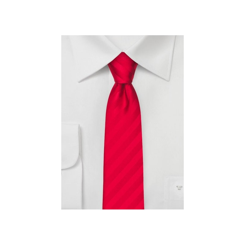 Bright Red Striped Skinny Tie