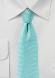Slim Cut Solid Tie in Aqua Blue