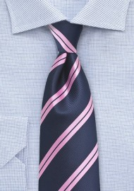 Repp Striped Tie in XL in Navy and Pink