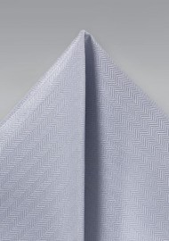 Silver Herringbone Pocket Square