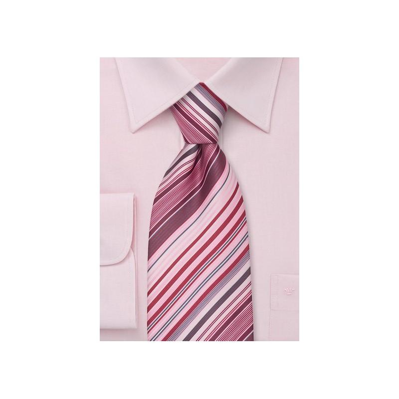 Spring Fashion Ties Pink Striped Necktie