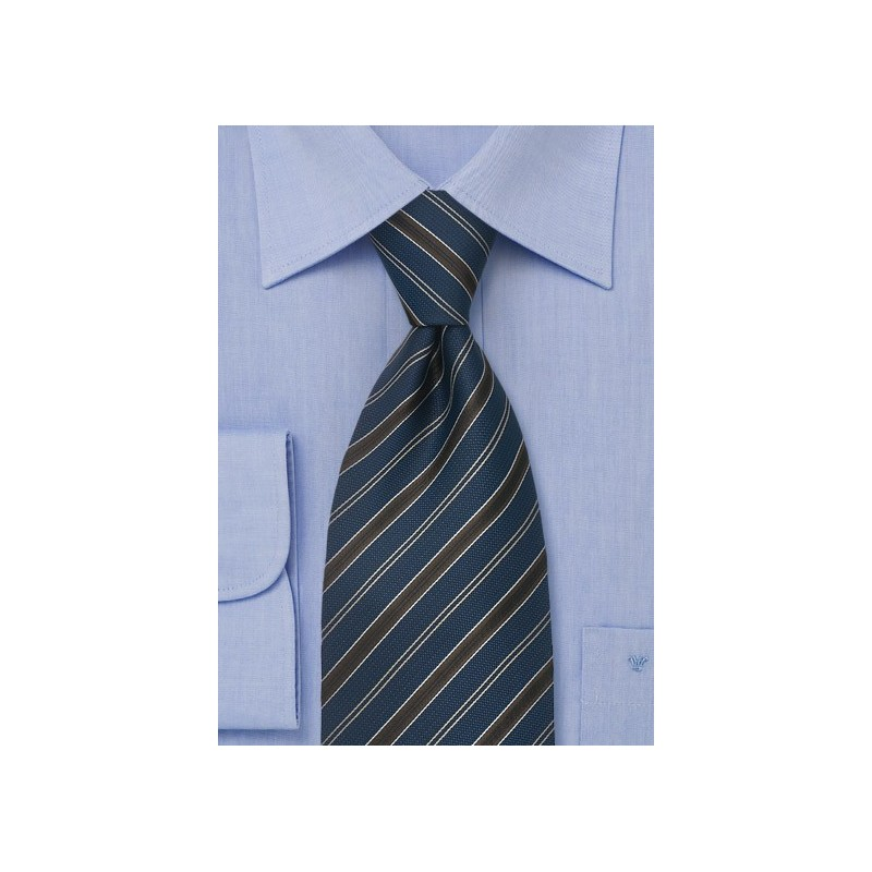 Classic Business Ties Midnight Blue Striped Tie