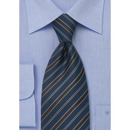 Classic Business Ties Midnight Blue Striped Tie