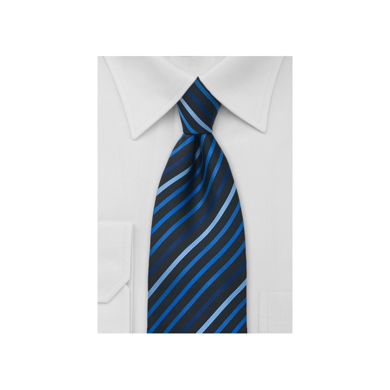 Blue and Black Striped Tie