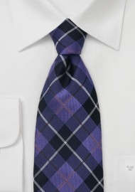 Indigo and Purple Tartan Check Tie