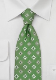Kelly-Green Floral Tie by Chavalier
