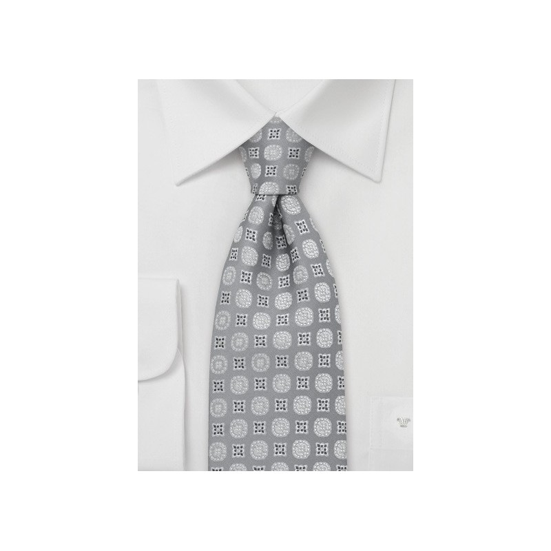 Silver-Gray Floral Tie by Chevalier
